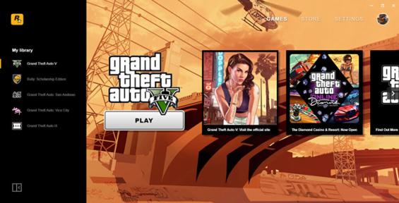Rockstar Games Launcher(ロックスターゲームスランチャー)の画面
