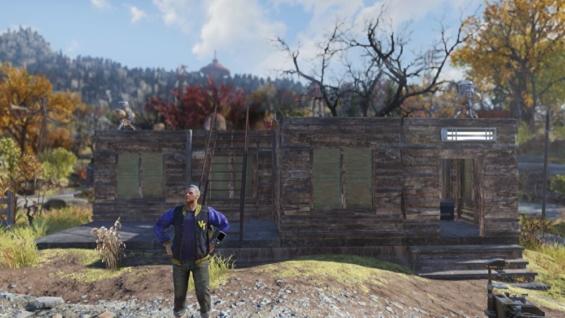 Vault-Tec大学の近くに建てたキャンプ