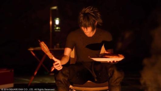 ファイナルファンタジーXVのキャンプで食事するノクト