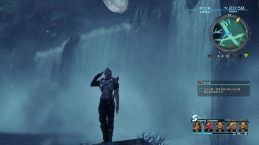 ゼノブレイドクロスの滝の前での敬礼
