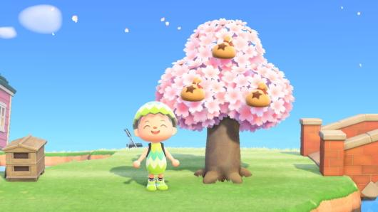 「あつまれ どうぶつの森」桜のベルの木から