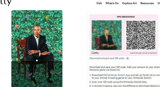 オバマ元大統領の肖像画のQRコード