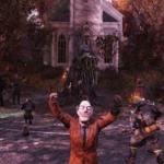 Fallout76のファスナハトイベントの焚火の前での記念写真