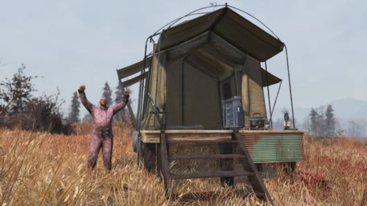 Fallout76のサバイバルテントを建てたバルカズ