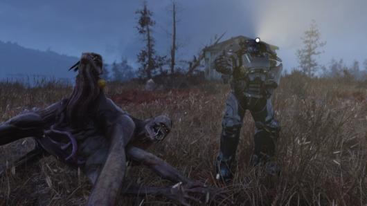 Fallout76でウェンディゴ・コロッサスとの戦いに勝った後の写真