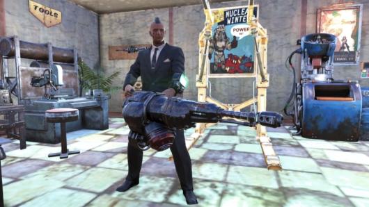 Fallout76「ガウスミニガン」を構えた姿
