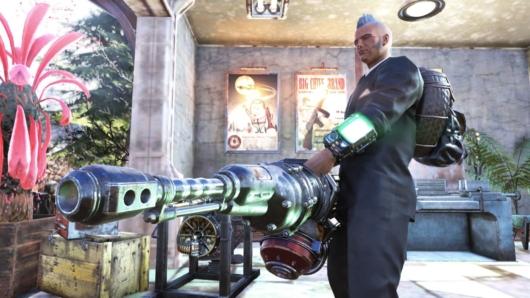 Fallout76「ガウスミニガン」を至近距離で撮影