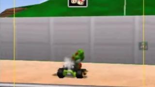 「マリオカート64」ルイージサーキットの壁にぶつかるヨッシー
