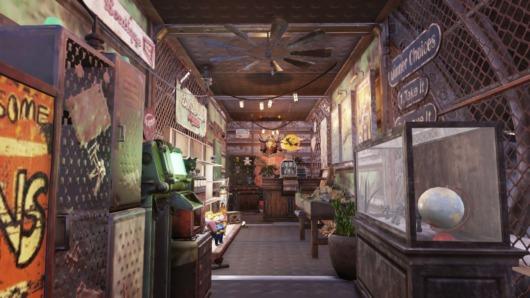 Fallout76でショップに改造された「空飛ぶ要塞」