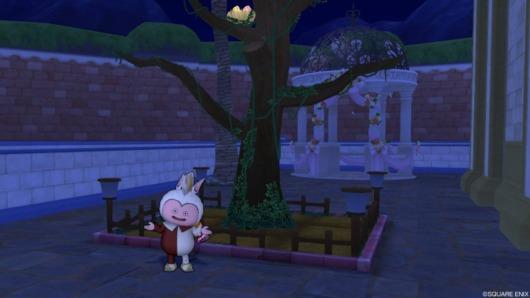 小鳥の止まり木の畑前でポーズをとるバルカズ