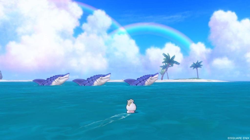 キミとサメない夢を2で日光浴をしているサメバーン